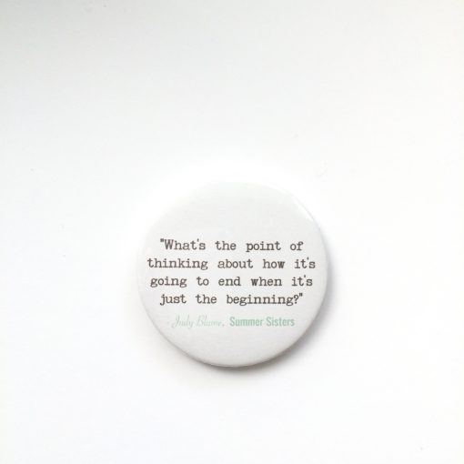 Judy Blume Summer Sisters quote badge