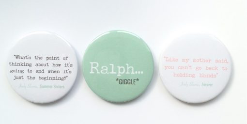 set of Judy Blume quote badges