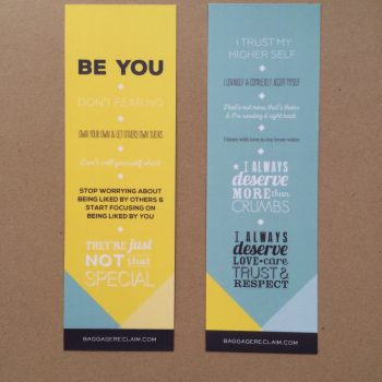 Baggage Reclaim personal commandments and affirmations bookmark