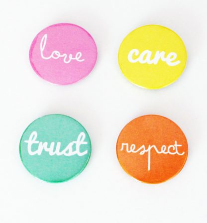 Love, care, trust and respect badges