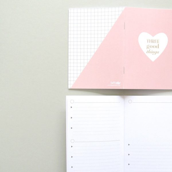Pink heart three good things notebook by Lollipop Designs
